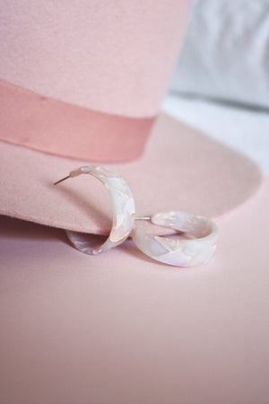 Lavender Pink Acrylic Hoop Earrings