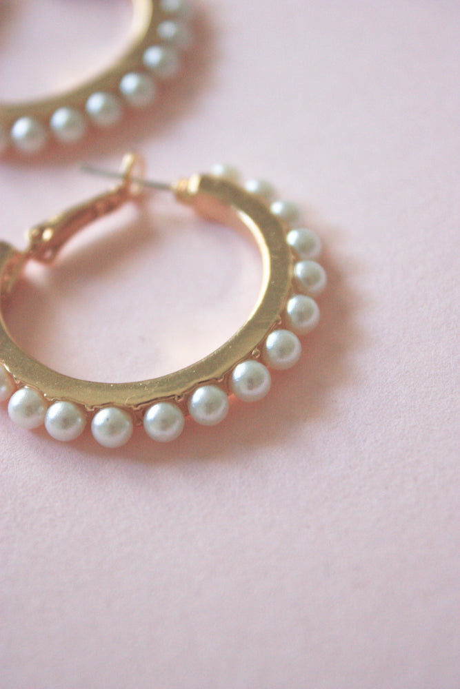 Pearl Trim Hoops