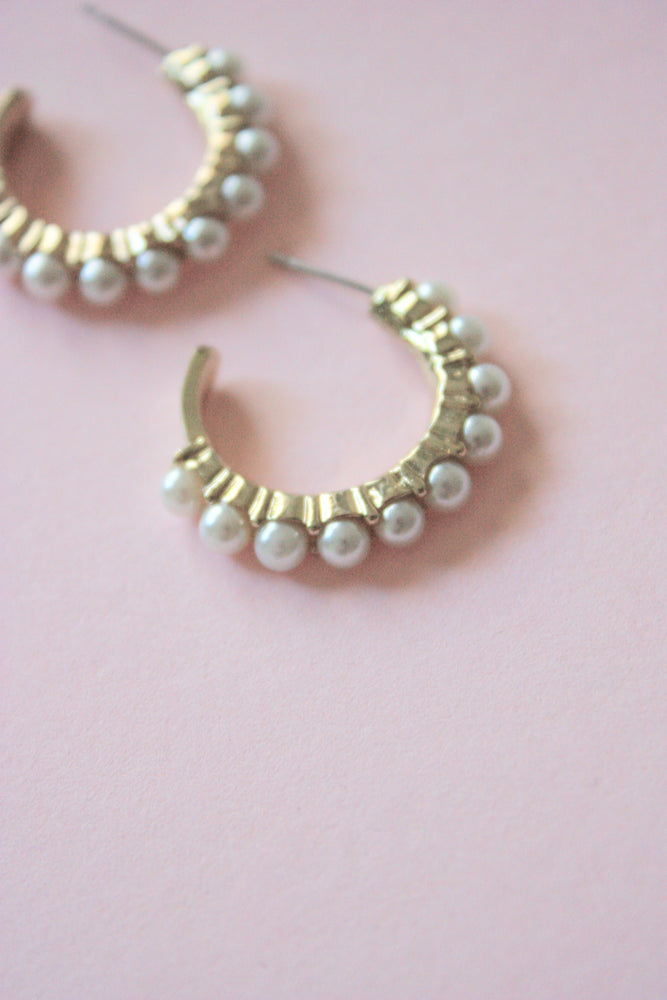 Antique Gold Pearl Hoops