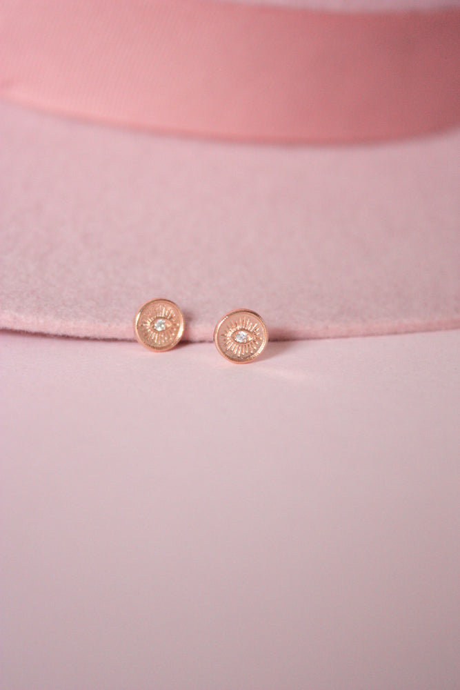 Rose Gold Evil Eye Stud Earring