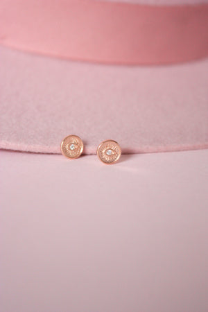 Load image into Gallery viewer, Rose Gold Evil Eye Stud Earring