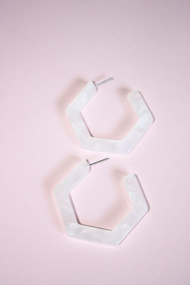 Acrylic Hexagon Hoop Earrings