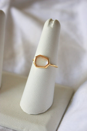 Geometric Mother of Pearl Ring