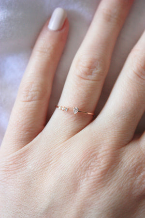 Rose Gold Dainty Jeweled Ring