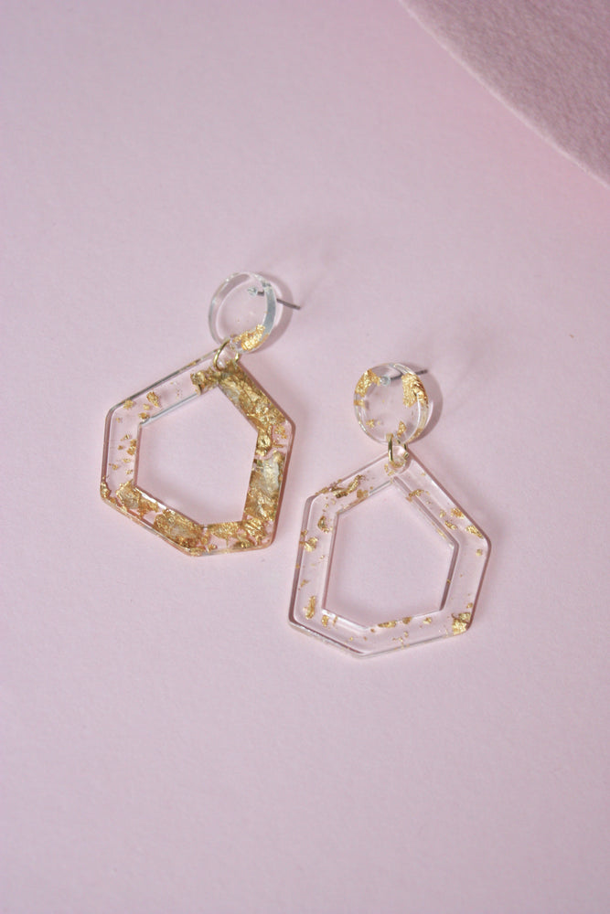 Geometric Gold Fleck Earring