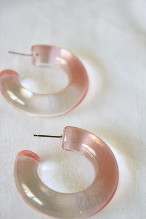 Load image into Gallery viewer, Blush Lucite Hoop Earring