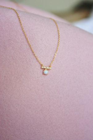 Petite Opal Bar Charm Necklace