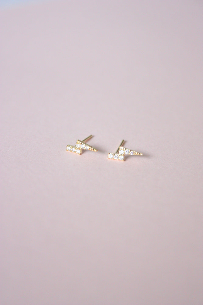 Rhinestone Bolt Stud Earrings