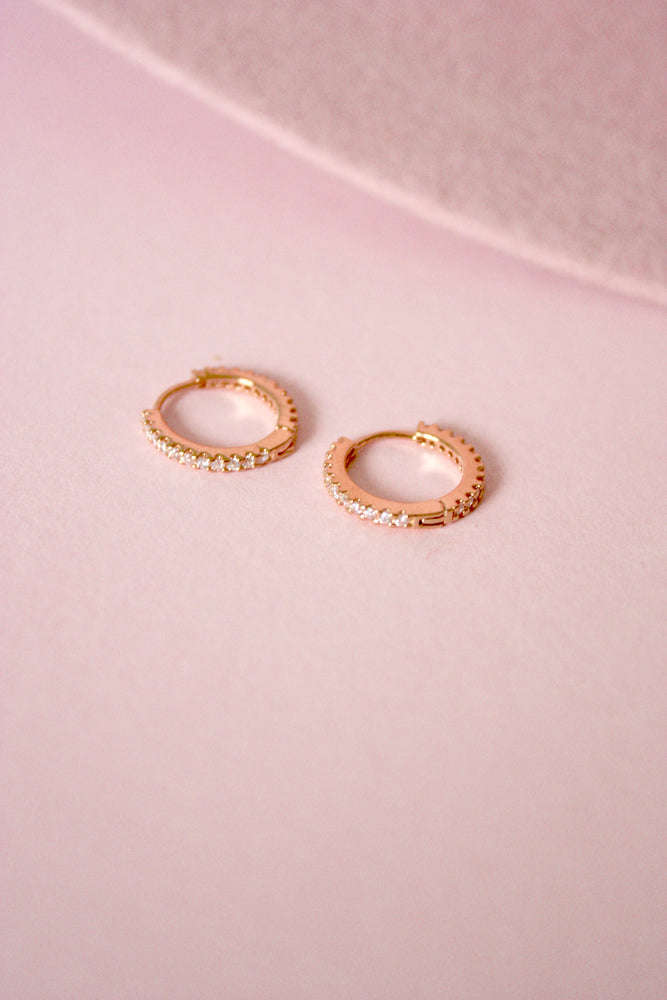 Rose Gold Rhinestone Huggie Hoops