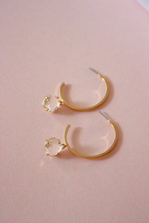 Jewel Drop Hoop Earring
