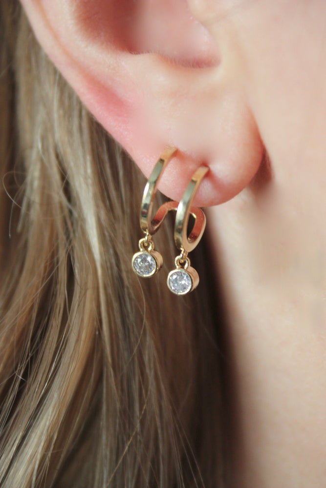 Load image into Gallery viewer, Double Hoop Huggie Earring
