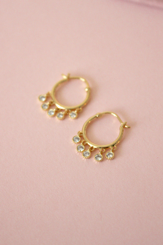 Gold Bezel Mini Hoops