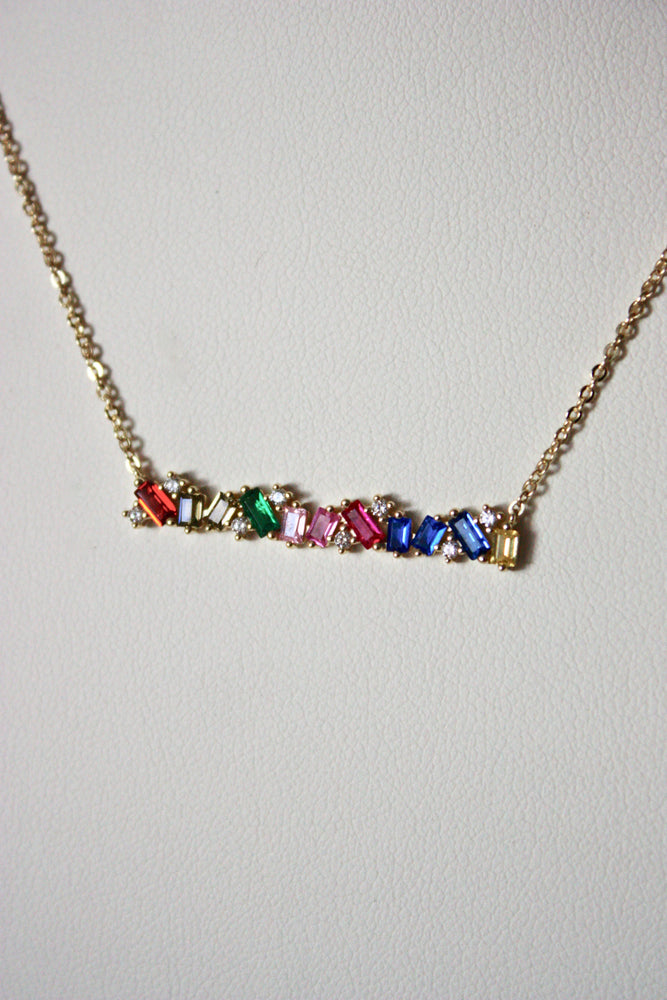Sterling Rainbow Baguette Bar Necklace