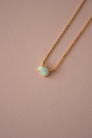 Dainty Opal Charm Necklace