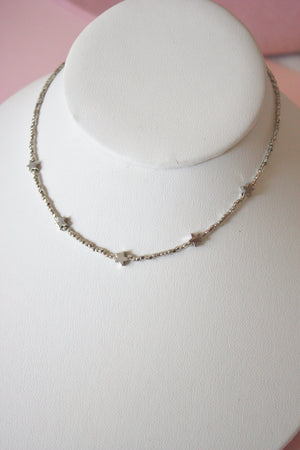 Silver Star Beaded Choker Necklace