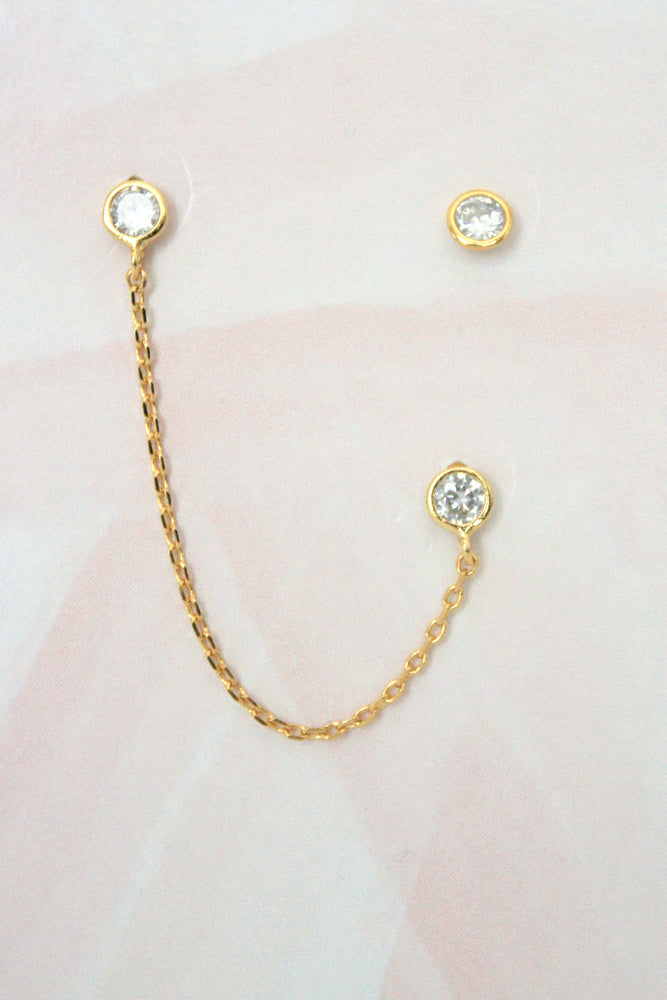 Chain Stud 3 Piece Earring Set