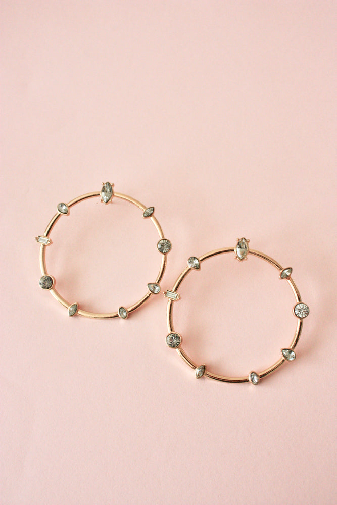 Large Jeweled Circle Earring