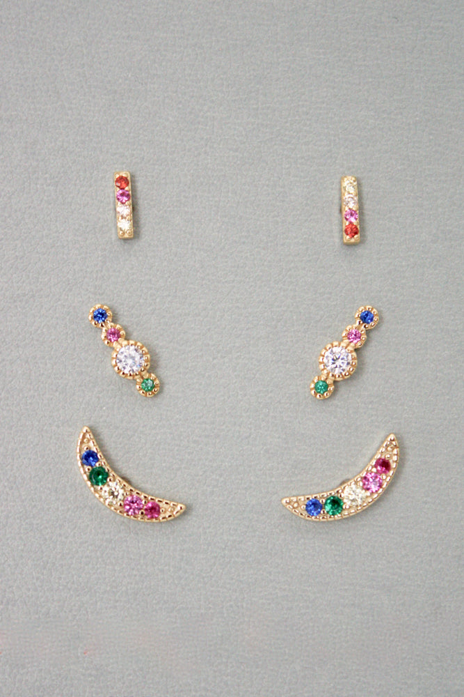 Sterling Silver Rainbow Moon Stud Earring Set