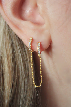 Load image into Gallery viewer, Sybll Double Hoop Chain Earring