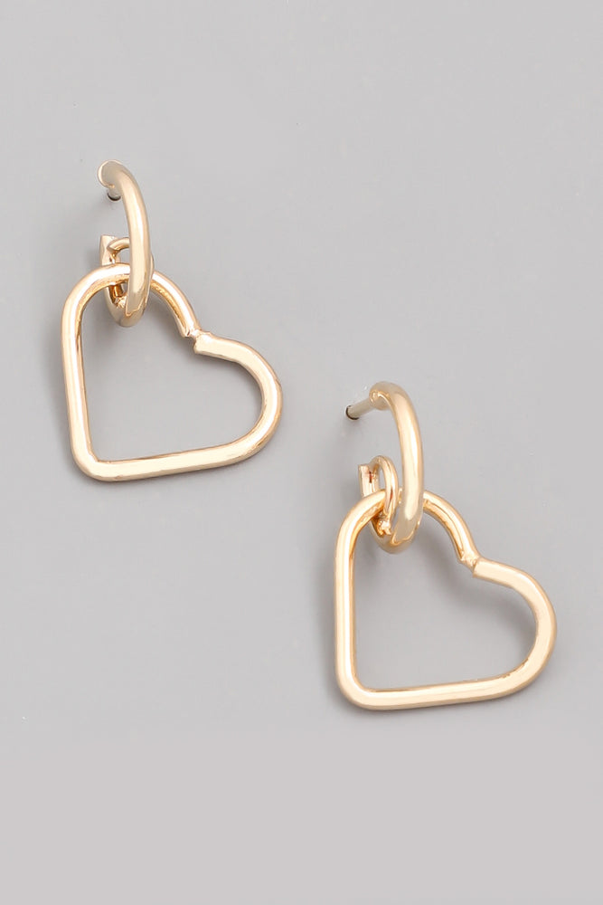 Heart Drop Huggie Earring