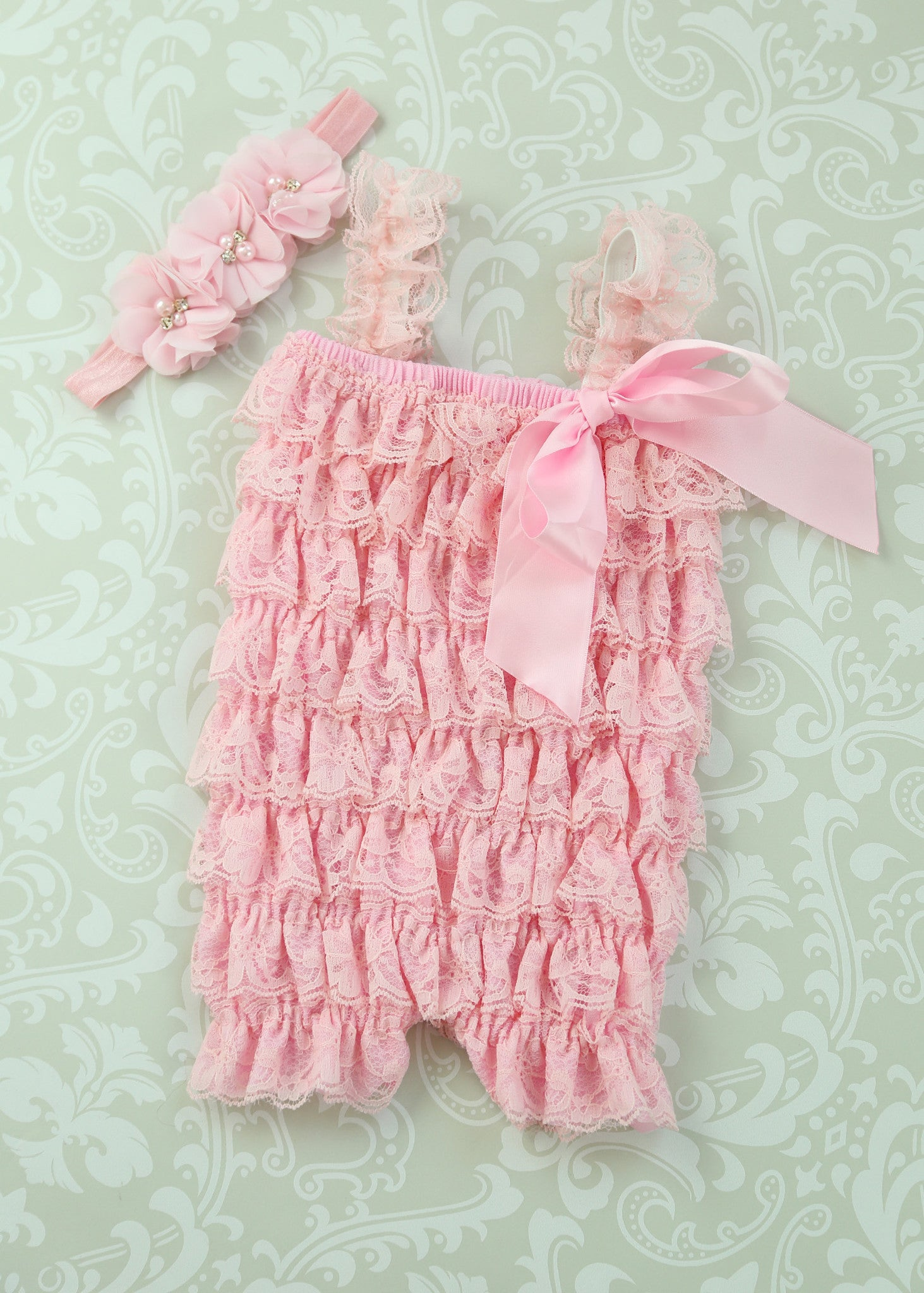 5e4160377943 Pink Lace Romper headband SET  21.95. Baby girl outfit