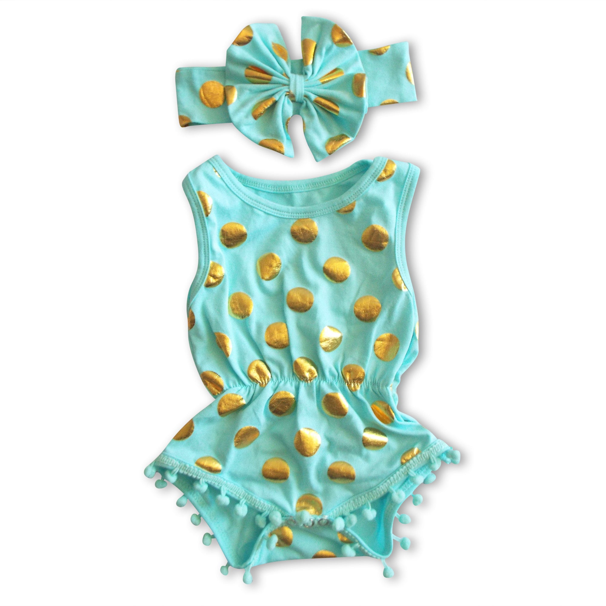 fb64615b0ef7 Fancy Pants · Home   Products   Aqua Gold Pom Pom Romper Set. aqua baby  romper