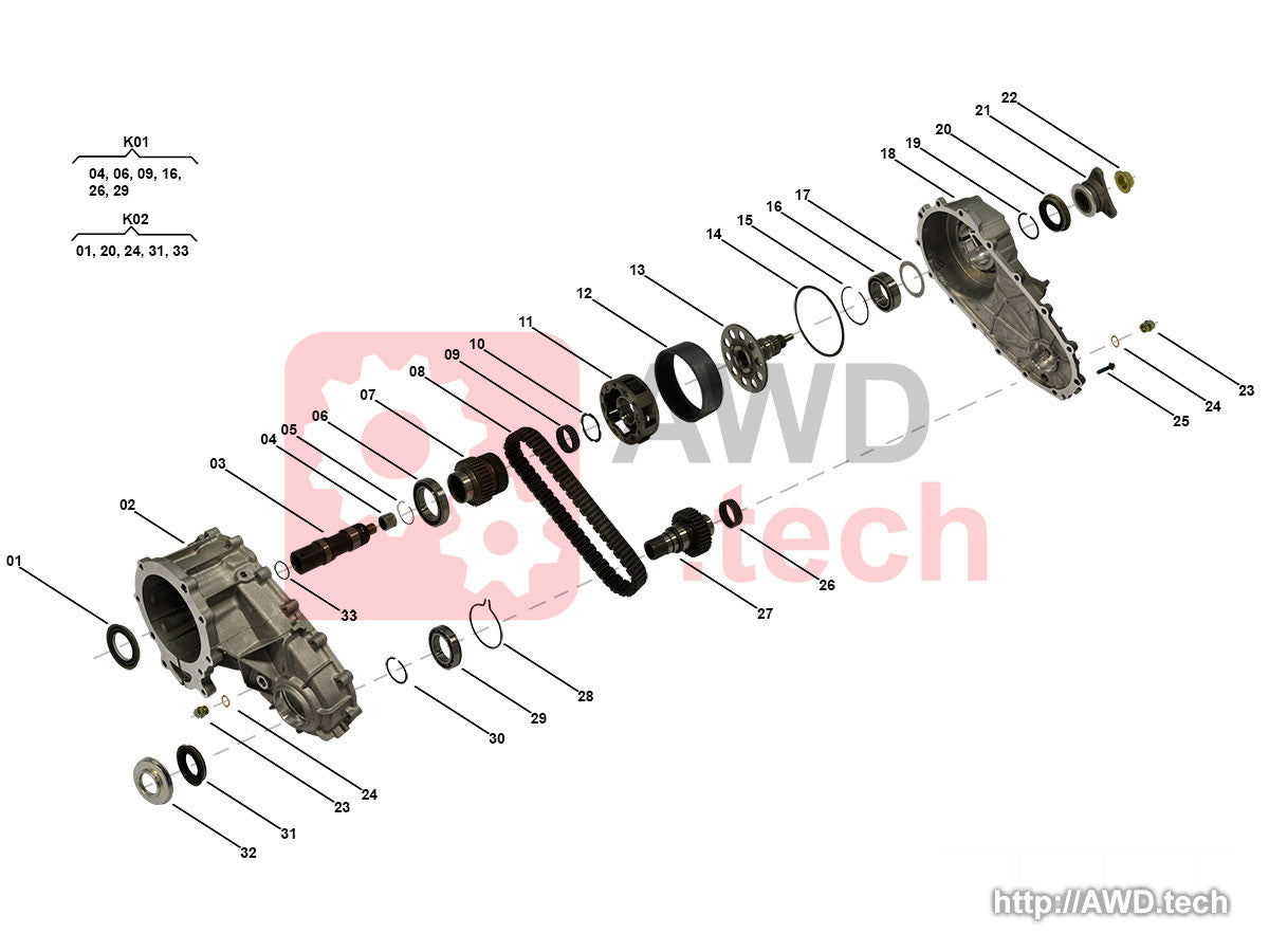 NV125 Transfer Case Diagram / Parts Catalog