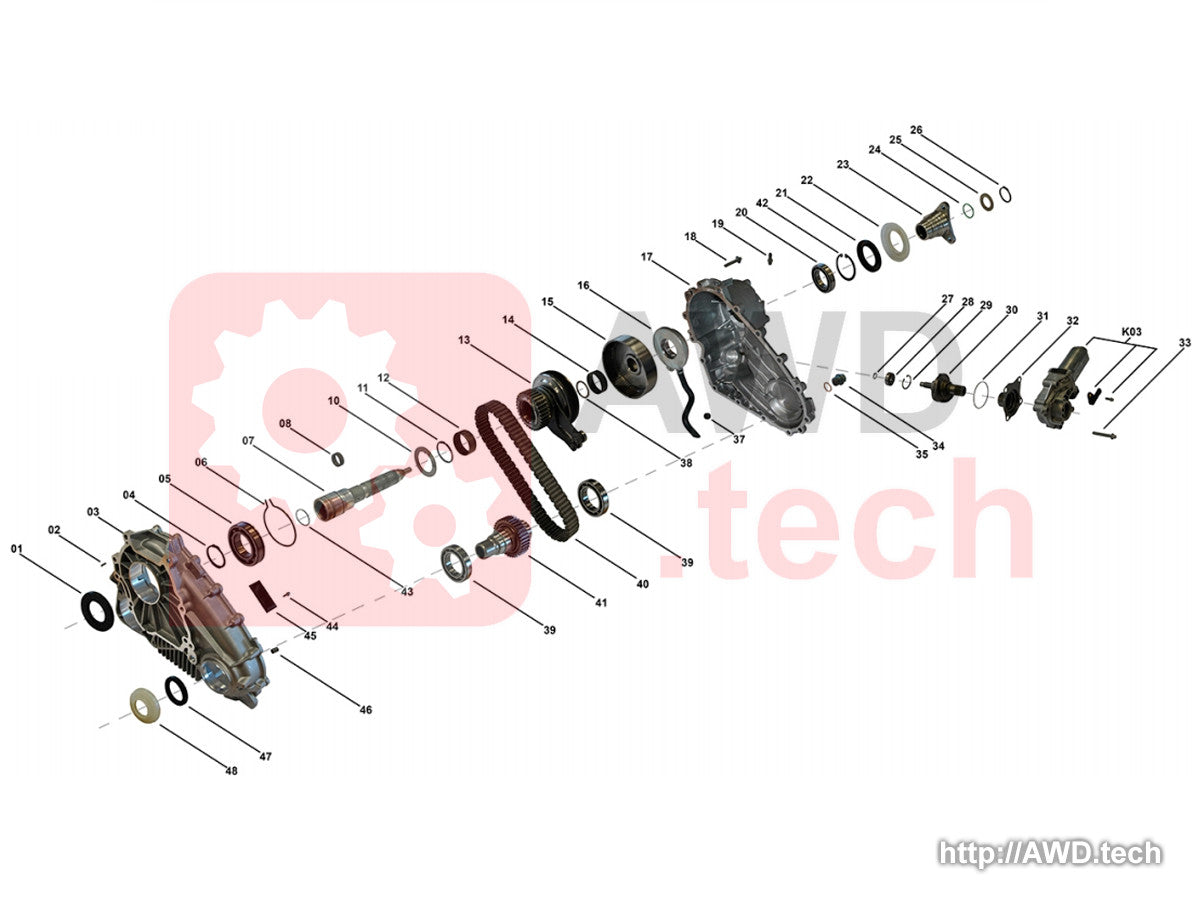 ATC500/700 Transfer Case Diagram - Parts Catalog
