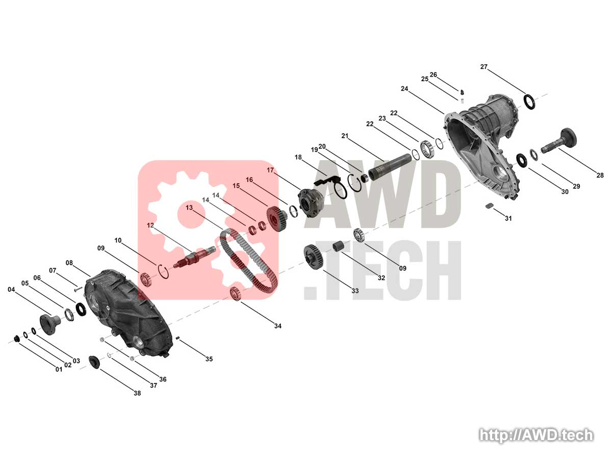 BW4430 (Borg Warner 4430) Transfer Case Diagram / Parts Catalog