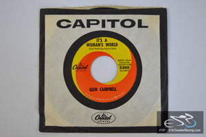 "Glen Campbell - Tomorrow Never Comes, It's A Woman's World 45/7"" Vinyl Album Capitol Records"