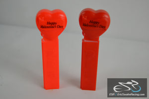 Happy Valentine's Day Red Pez Dispensers (Two) 1996 - No Feet, Made In Hungary