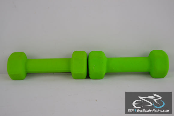 3 lb Rubber Coated Weight Dumbbell Set Exercise Fitness Strength Training Green