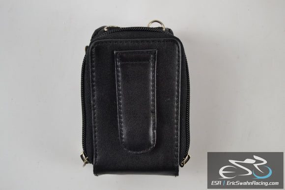 Black Leather Cell Phone Case With Belt Loop Zipper Wallet