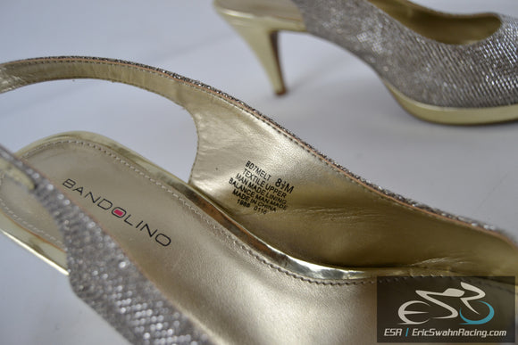 Bandolino Gold & Sparkily Adjustable Heeled Open Towed Women's Shoes 8.5M Shoes
