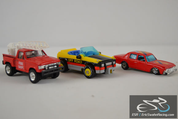 Die Cast Cars - Fire Dept Truck, Turbo 47, Off Road Good Year Car