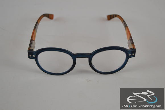 Fashion Reading Glasses with Stripes on the Temples. Blue / Black
