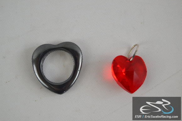 Two Hearts Jewelry for Bracelet or Necklace - Red Gem & Silver