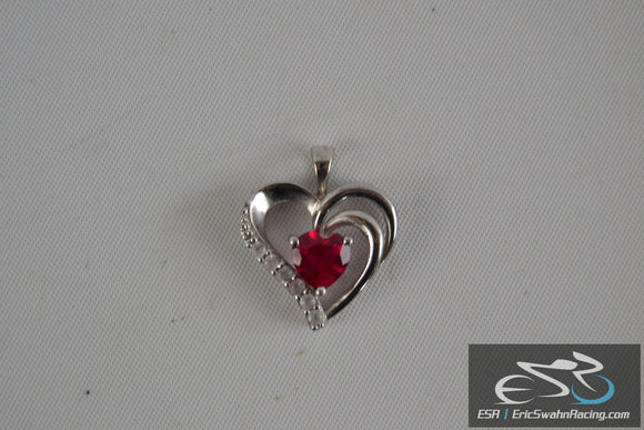 Silver Heart with Red Gemstone for Neclace