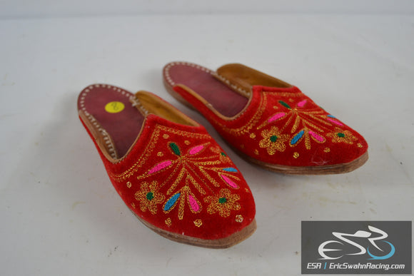 Red Decorative Ethnic Slippers Shoes Flats Women's Size 8 US