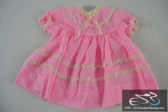 Pink, White, Polka Dot Lace Dress - Toddler / Baby / Doll Clothing
