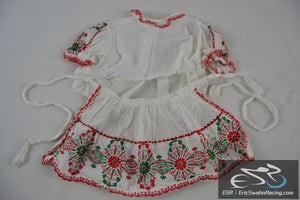 Green, Red, White Decorative Two Piece Dress Baby Doll Clothing
