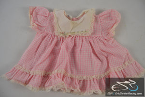 Pink, White Checkered Lace Dress Mini World 9-12 Months 19-22 lbs Baby Clothing