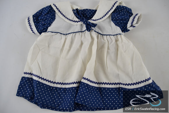 Blue, White Polka Dot Dress Toddler Baby Doll Clothing