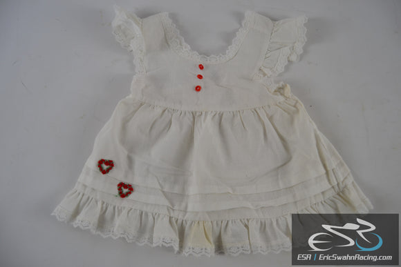 White, Grey, Red Polka Dot Dress with Hearts Size T2 Toddler Baby Doll Clothing