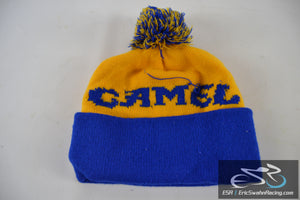 Blue, Yellow Winter Camel Hat With Ball On Top