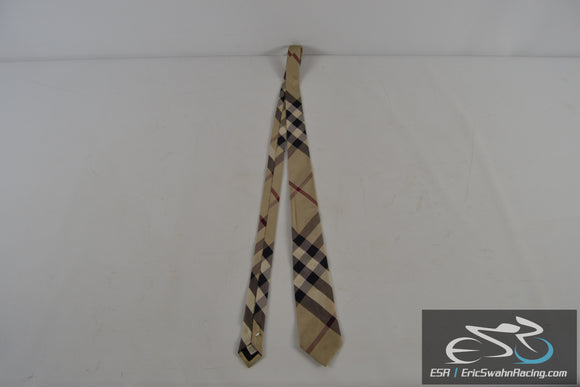 100% Silk Italian Made Men's Tie -  Checkered Beige / Red / Black / White