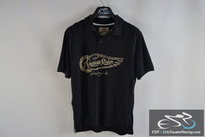 Roebuck & Co American Rider Black Men's Large Polo Collared Shirt