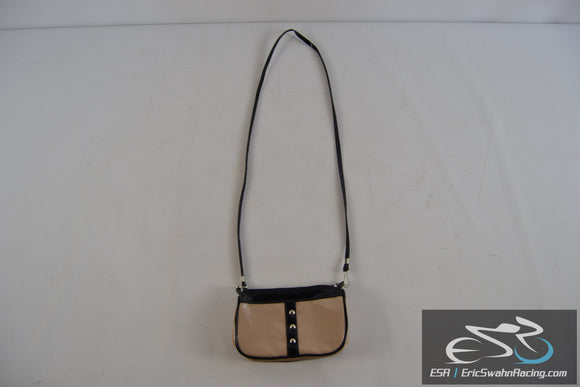 Tan / Black Small Women's Purse with Long Shoulder Strap