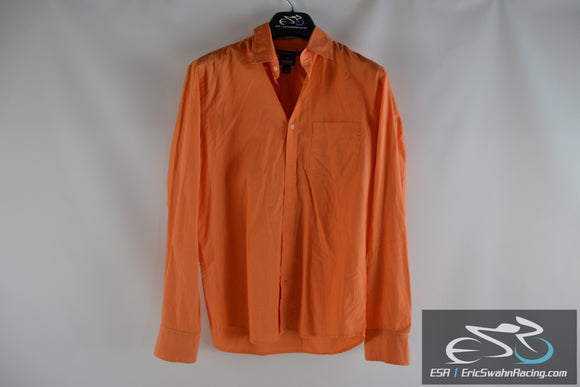 Old Navy Slim Fit Orange Men's Long Sleeve Small Collared Dress Shirt
