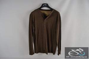 Outdoor Life Wilderness Sueded Henley Brown Men's Medium Long Sleeve Shirt